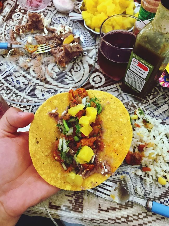 Tacos Mexican Food Tortilla Meet Tacosalpastor Food And Drink Food Human Hand Indoors  One Person Ready-to-eat Human Body Part Freshness Table Coriander Onion Chile Hotsauce Lemon Close-up Real People Holding SLICE Healthy Eating Day People