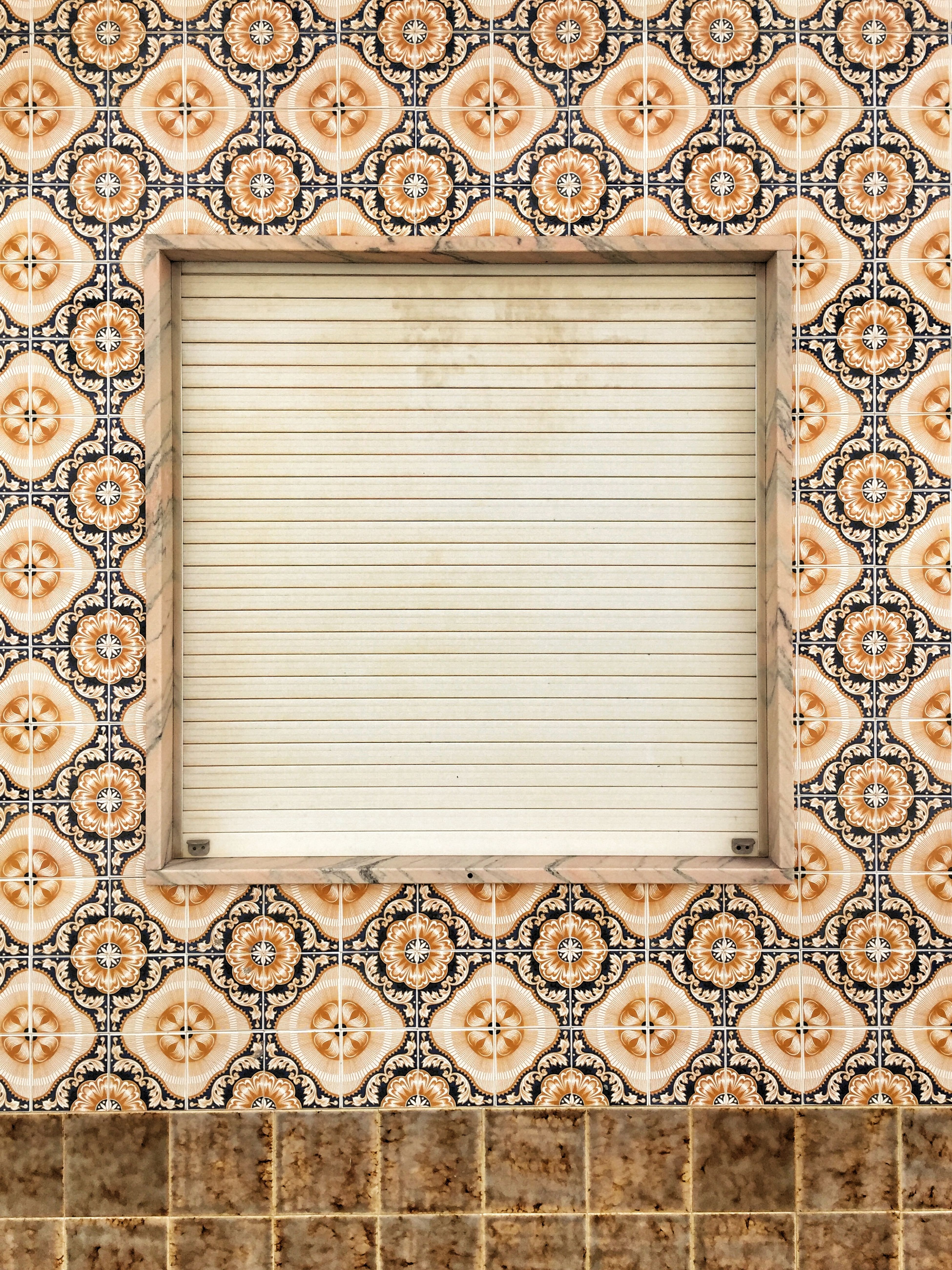 Azulejos and one Question What's Behind The Blinds? Window Symmetrical Tiles Costa Vicentina Algarve Portugaligers Portugal_lovers