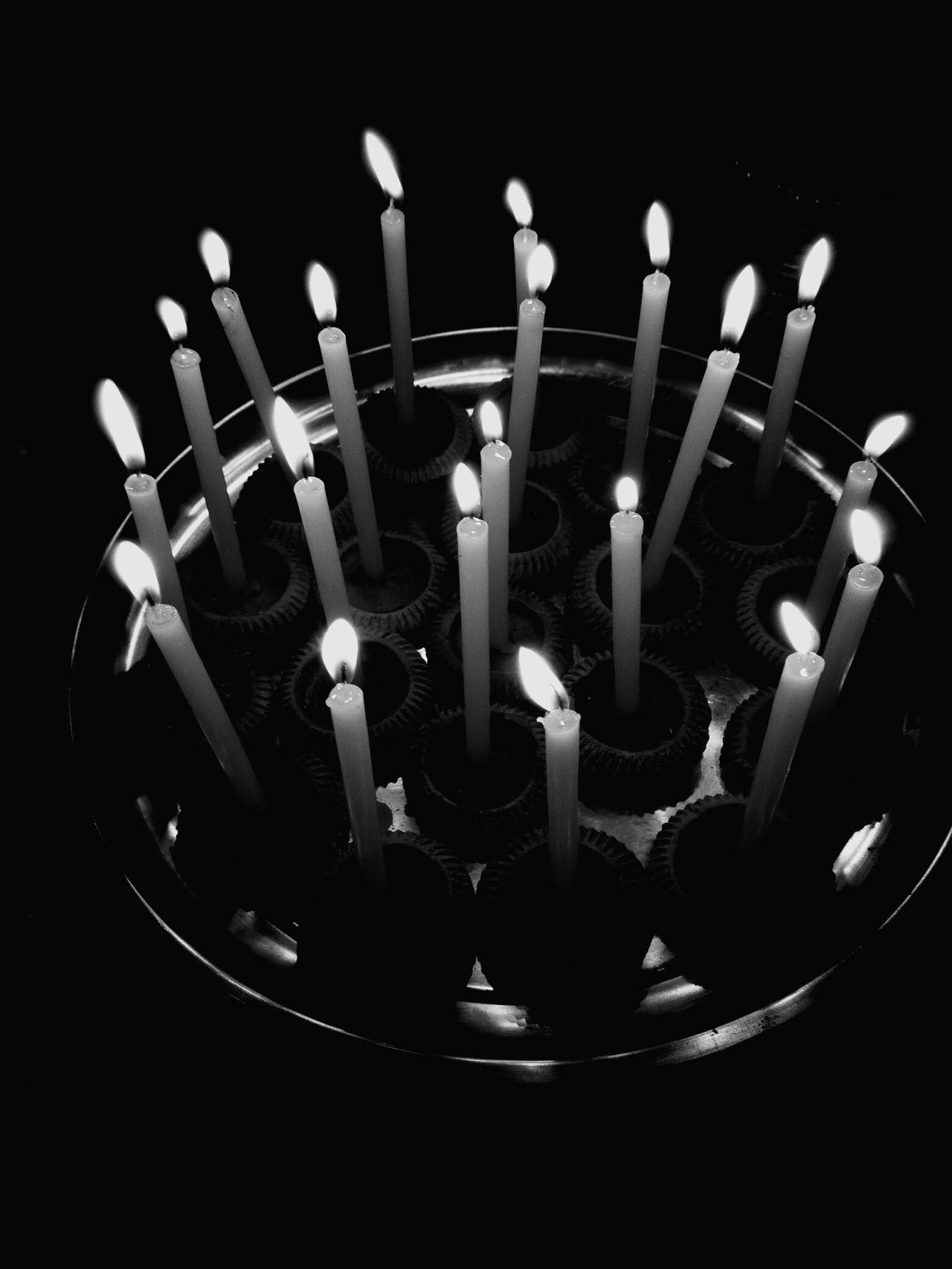 Black &White Candle Burning Flame Illuminated Celebration Cake Birthday Candles No People Birthday Cake Table Anniversary Close-up Indoors