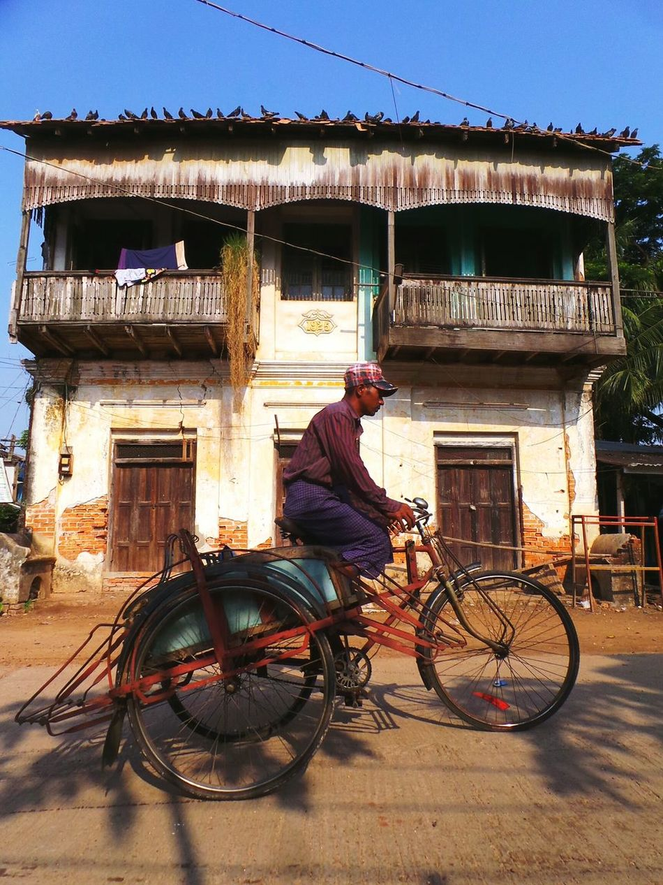 On my way, to you. Transportation Architecture Built Structure Building Exterior Mode Of Transport Bicycle Land Vehicle Full Length House Riding Color Of Life On My Way Here I Come Traditional Clothing Mwalamyine Myanmar Back In Time CyclingUnites