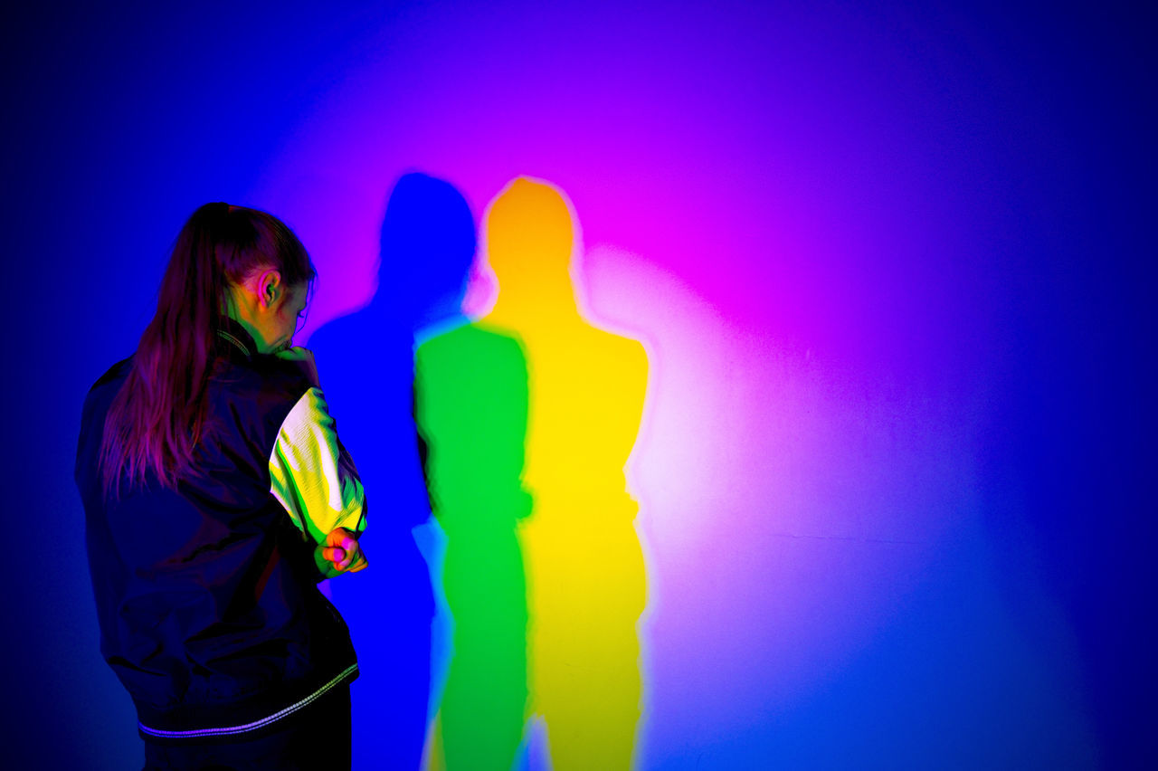 Multi Colored Vibrant Color Blue Three Quarter Length Colored Background Waist Up Neon Colored People One Person Coloured Shadows Psihology Ilustration Friends Love Splinters Of Reality Colorful Shadow Girl Where Is My Love? Separeted Mind Teenager Indoors  Problems Shadows & Lights Nostalgic abstract