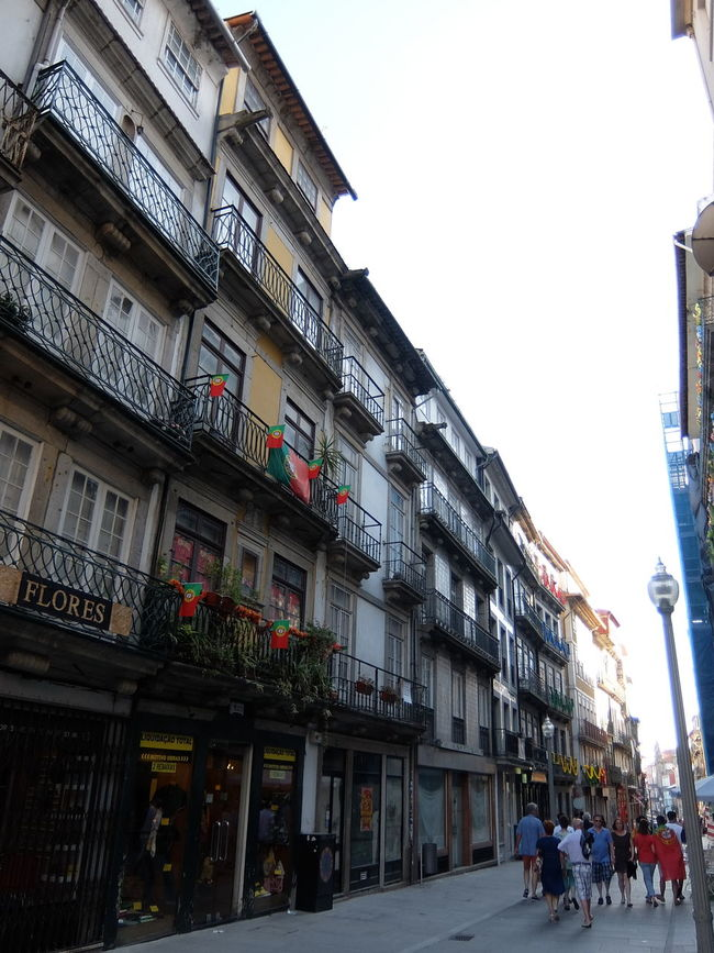 Building Exterior City Life City Street Decoration Euro 2016 Flags Green & Red Porto Portugal People Together