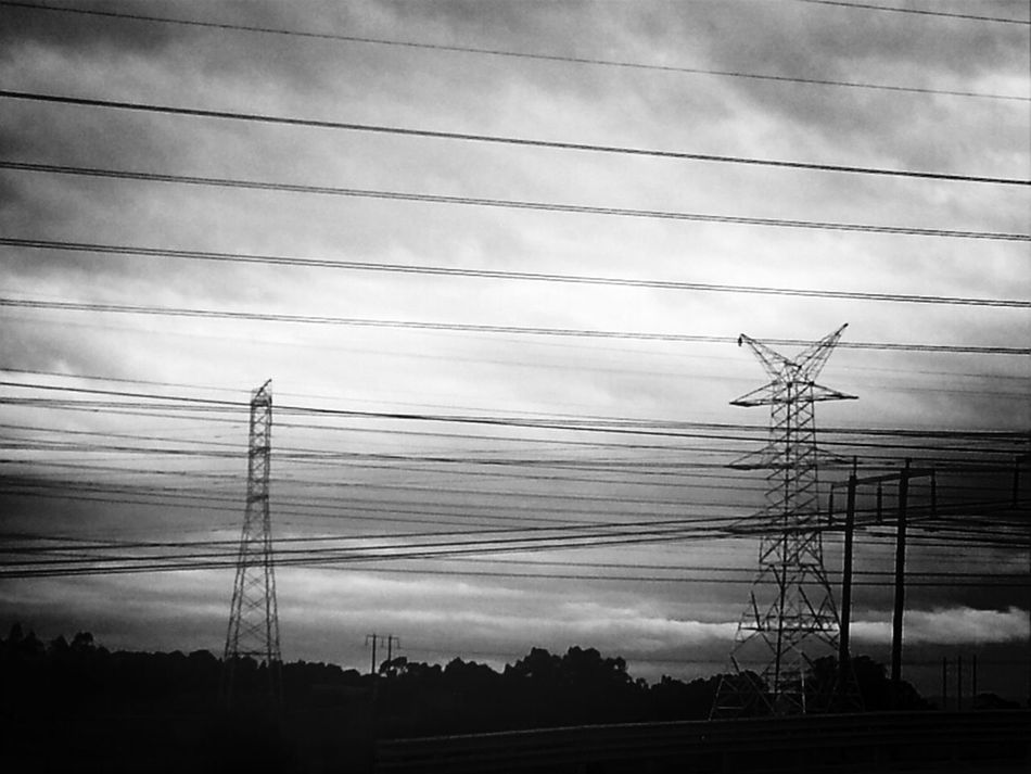 Power Lines Bw-collection Sky Collection