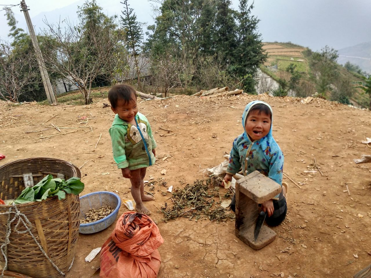 Cute kids on the road Childhood Children Ethnic Outdoors People Poorpeople Togetherness Travel
