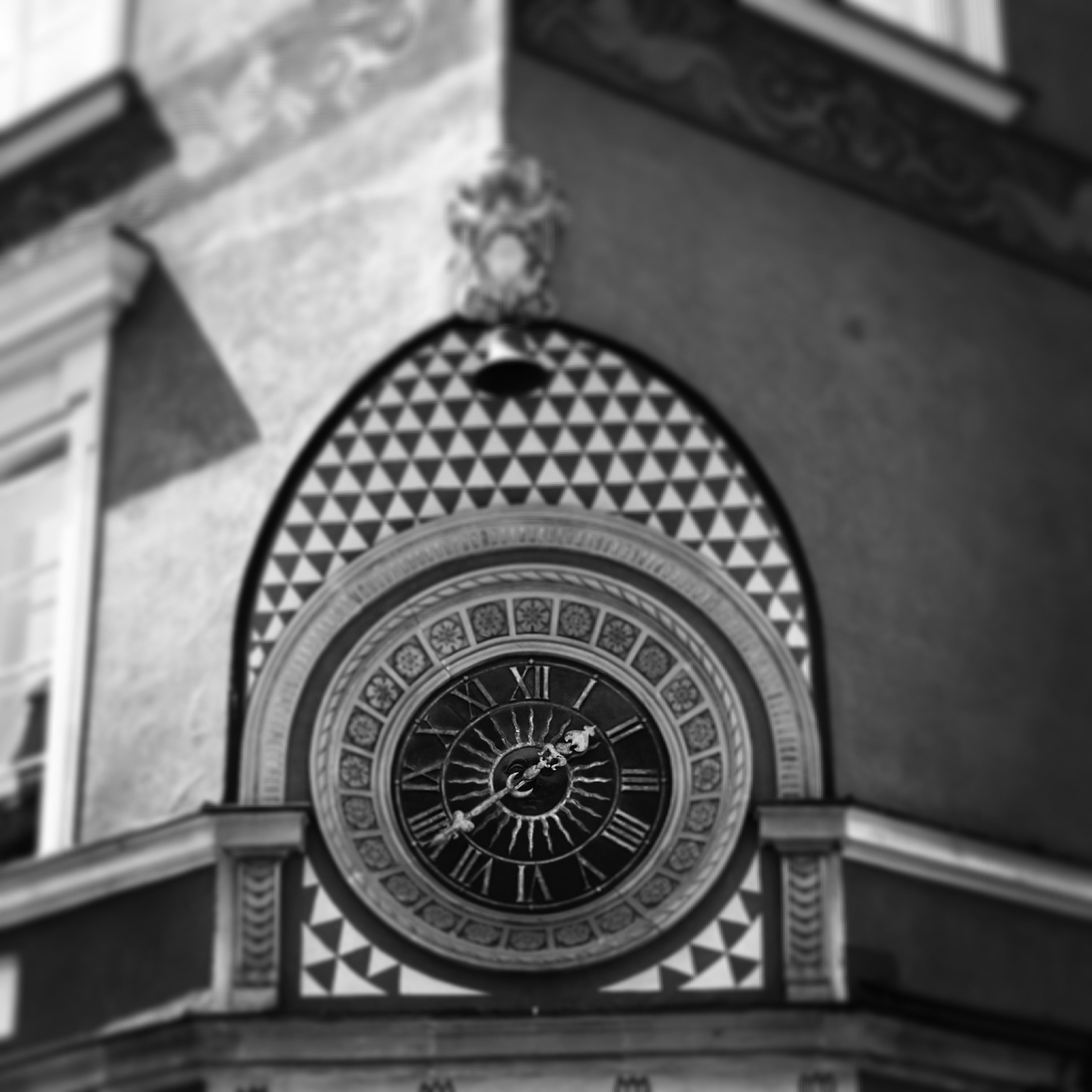 architecture, indoors, built structure, clock, low angle view, time, building exterior, old-fashioned, close-up, no people, focus on foreground, day, wall - building feature, circle, religion, pattern, retro styled, church, ornate, antique