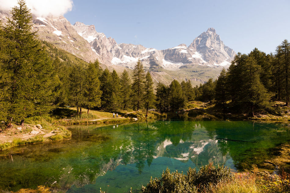 Aosta Beauty In Nature Blue Lake Day Forest Italy Lake Landscape Matterhorn  Mountain Mountain Range Nature No People Outdoors Reflection Scenics Sky Tranquil Scene Tranquility Tree Water