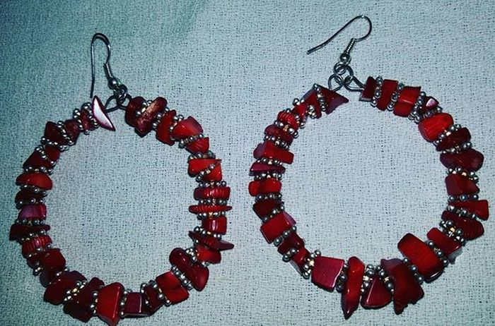 Earrings with red coral bamboo - corallo bambù rosso Coralbamboo Coral Corallobambù Orecchini Orecchinifattiamano Jewelryhomemade Jewelry Bigiotteriaartigianale Bigiotteria