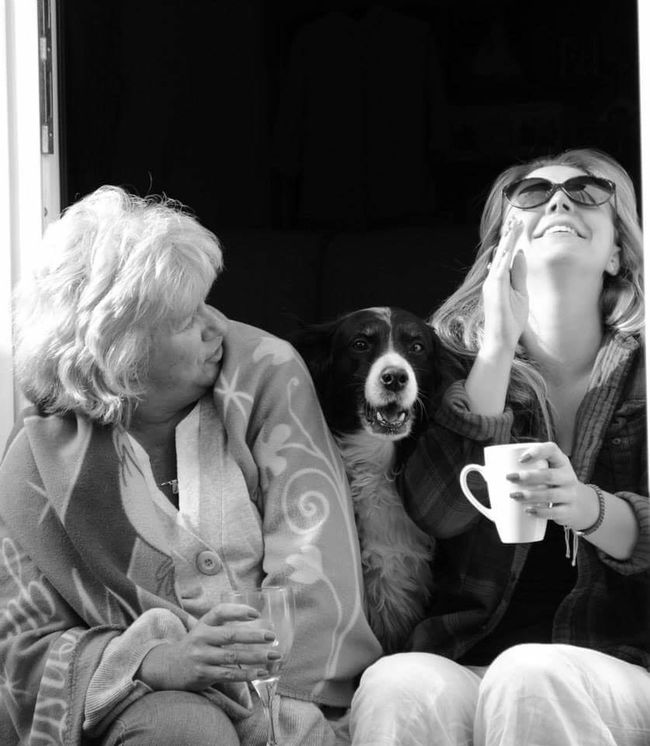 Laughter Dog Animal Pets Adult Child Togetherness Sitting Females Bonding Only Women Day Blackandwhite Photography People Drinking Friendship Holding Mother And Daughter