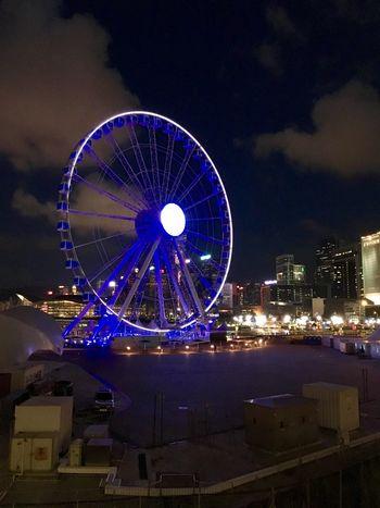 Ferris Wheel Night Architecture Outdoors Fun Geometric Shape Beauty In The Darkness Blue Light Eye Em Best Shots Fresh On Eyeem
