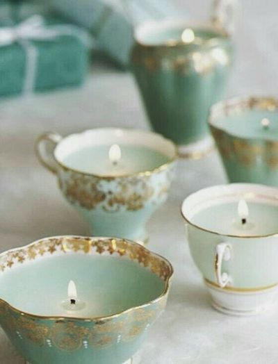 Turned vintage tea cups into candle holders...nice idea.. ^_^ Love It Nice Stuff Vintage Style Decorations Home Decoration