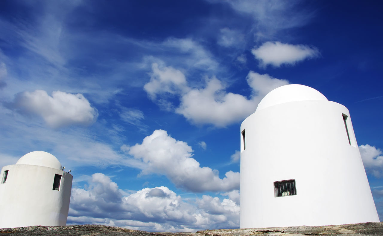 white windmills in alto de s bento, Evora, Portugal Architecture Building Exterior Built Structure Cloud - Sky Day Evora, Portugal Low Angle View Nature No People Outdoors Sky White Color Whitewashed Windmills Évora