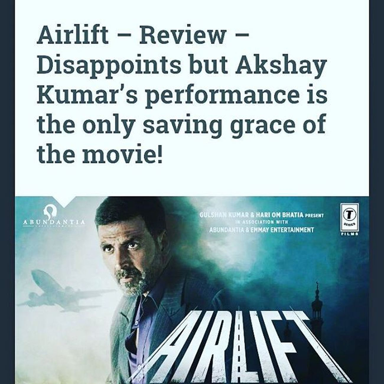 when will we get this right.. people stuck in a crisis situation can't just start dancing to a Bhangra number.. god save the movies... :( Movielove Movies Moviereviews2016 Hindimovies Airlift Moviesforever Moviereview Movieblogger Movieblog Writingmakesmehappy :) bit.ly/1OPwDHD