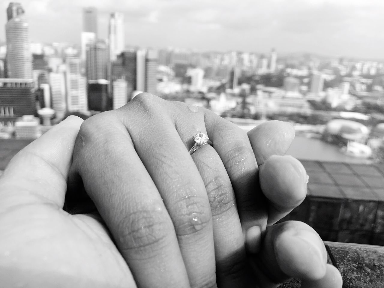 She said YES! Marryme LUCKIESTMAN Engaged Rooftopinfinitypool LetsGetLost