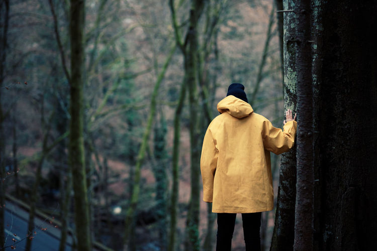 Adult Adults Only Cape  Cold Temperature Day Fashion Forest Men Nature One Man Only One Person Only Men Outdoors People Period Costume Rear View Tree Tree Trunk Walking Winter