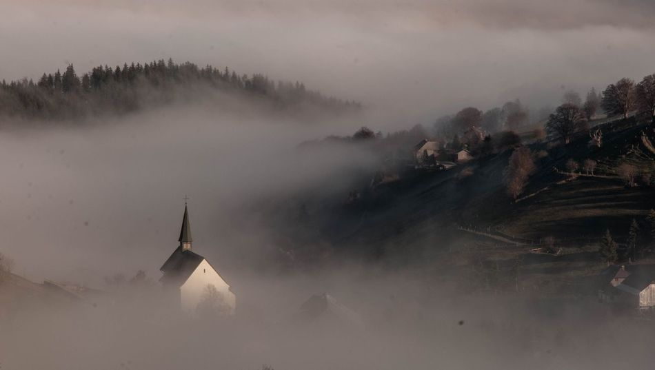 Architecture Built Structure Day Fog History Mountain Nature No People Outdoors Religion Sky The Secret Spaces Misty Tranquility Black Forest Black Forest Germany Black Forrest Black Forrest Amazing Clouds Love Colors Of Autumn Town Nature Town Center Townscape, Autumnbeauty Autumn Autumn Colors