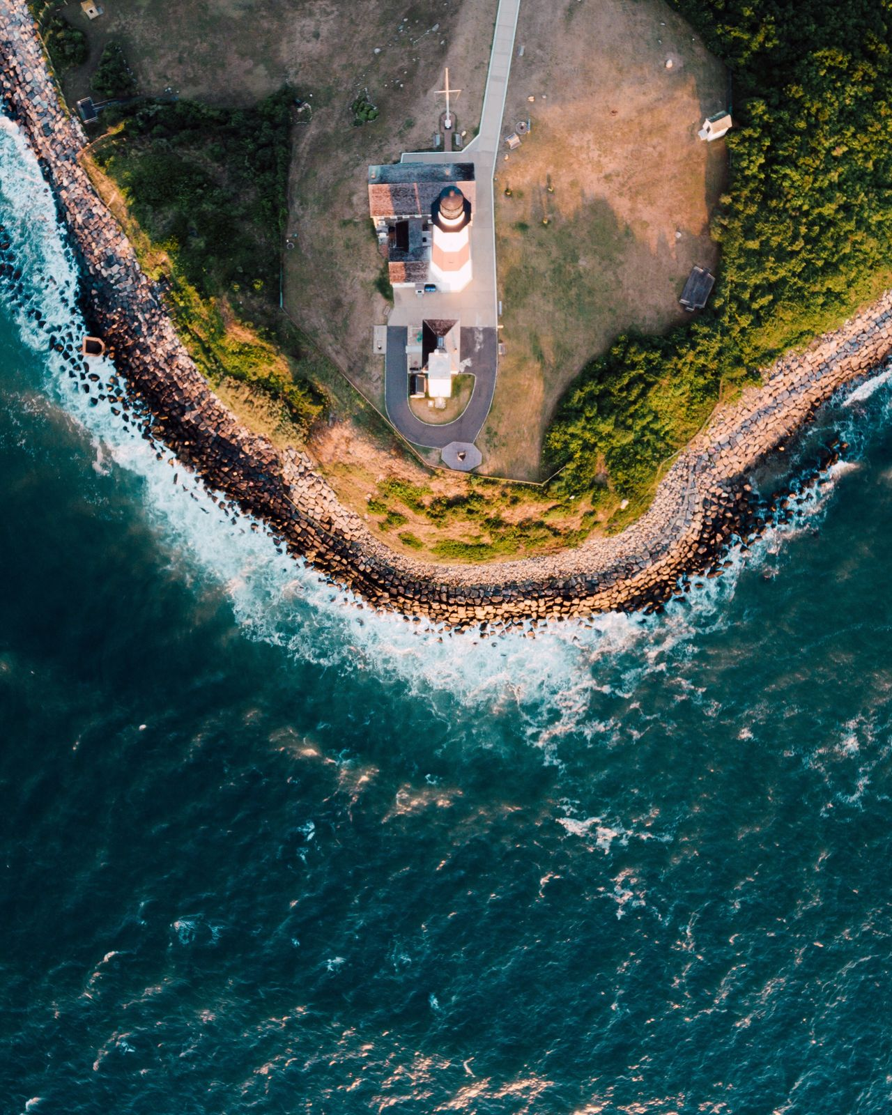 A Bird's Eye View looking down on the montauk point lighthouse
