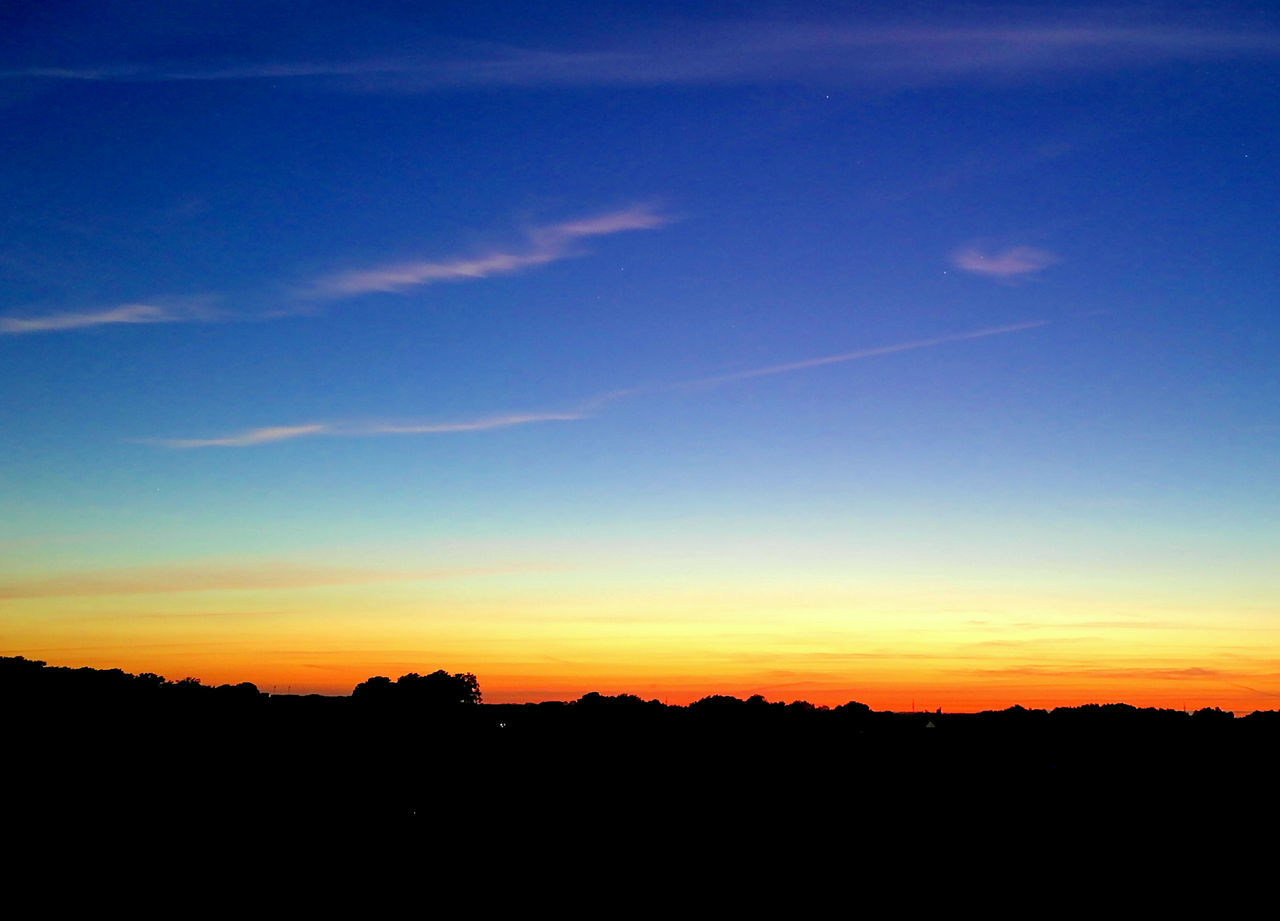 silhouette, sunset, dark, sky, tranquil scene, scenics, beauty in nature, nature, blue, no people, landscape, tree, outdoors, day