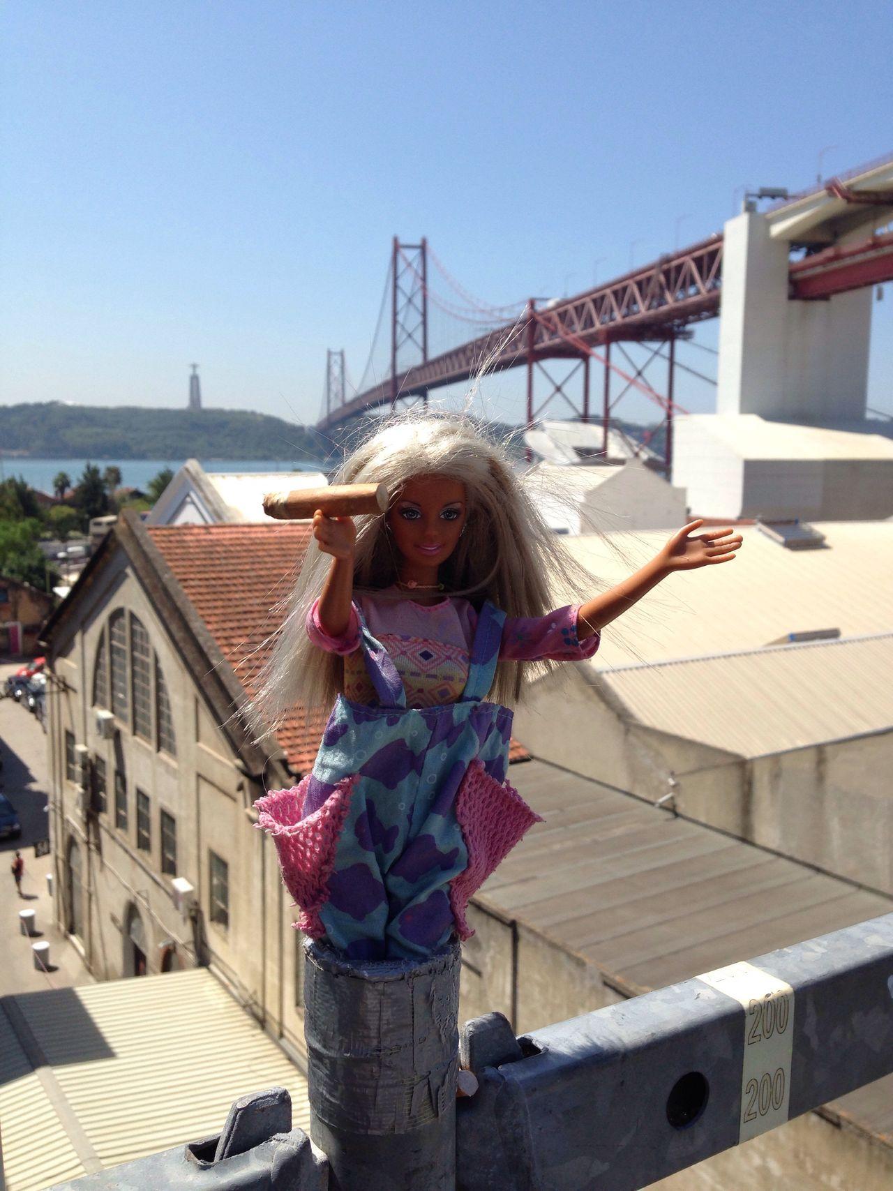 Barbie Cigarette  Art Architecture Day Bridge - Man Made Structure River View Clear Sky Sky Lisboa Lx Factory Built Structure Building Exterior Bizarre Art