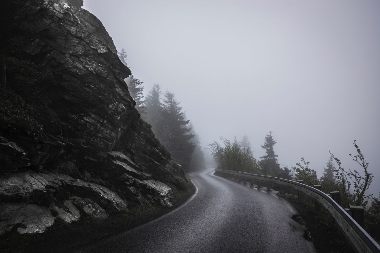 Foggy Morning at Jested Mountain in Liberec , Czech Republic | Hiking Black And White Fog Foggy Morning Stone Wall Street To The Top Darkness And Light Black & White Misty Finding New Frontiers