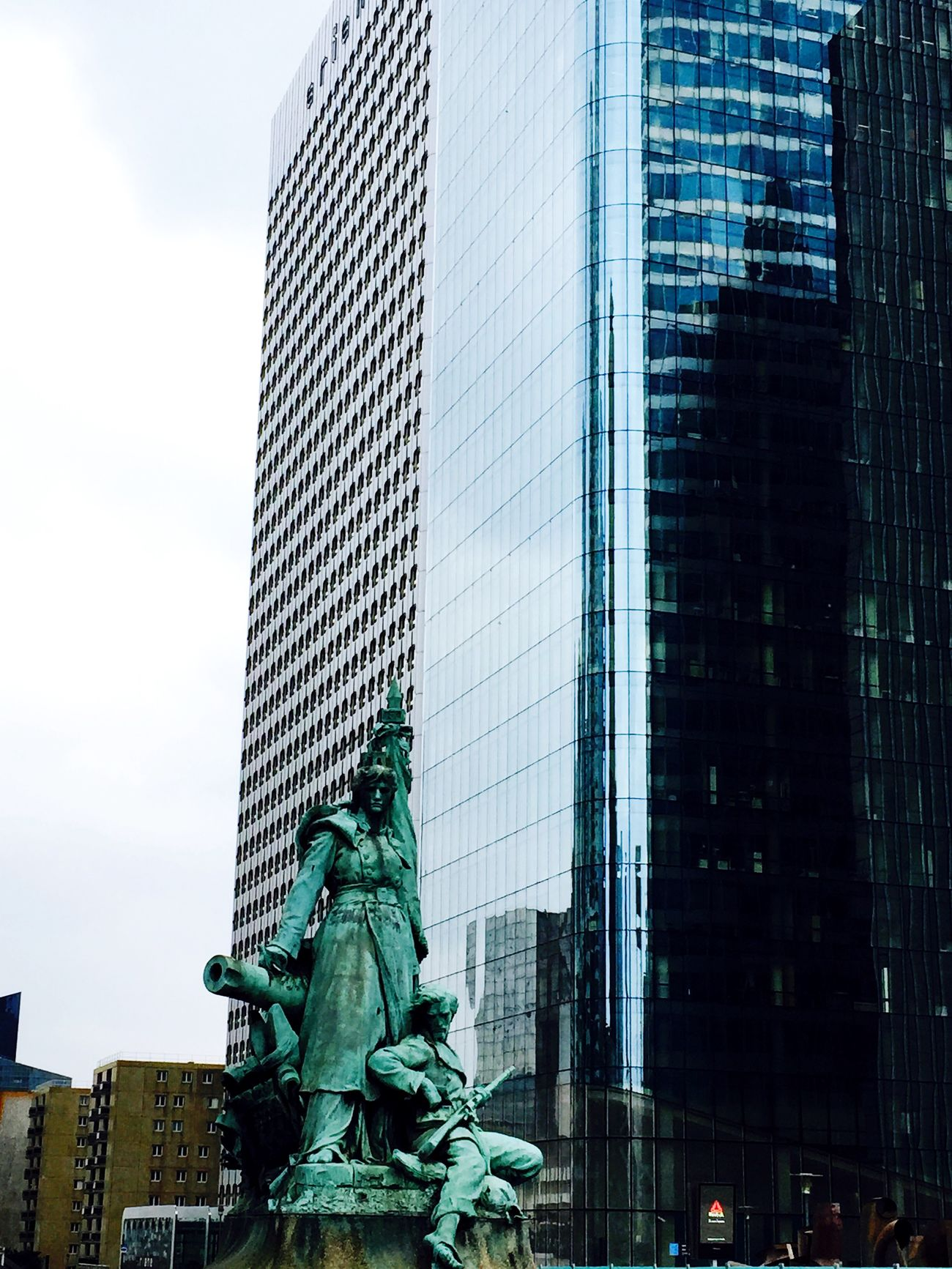 History and Modernity Paris Ladefense Statue Skyscraper Building Grey Clouds And Sky Architecture Perspectives