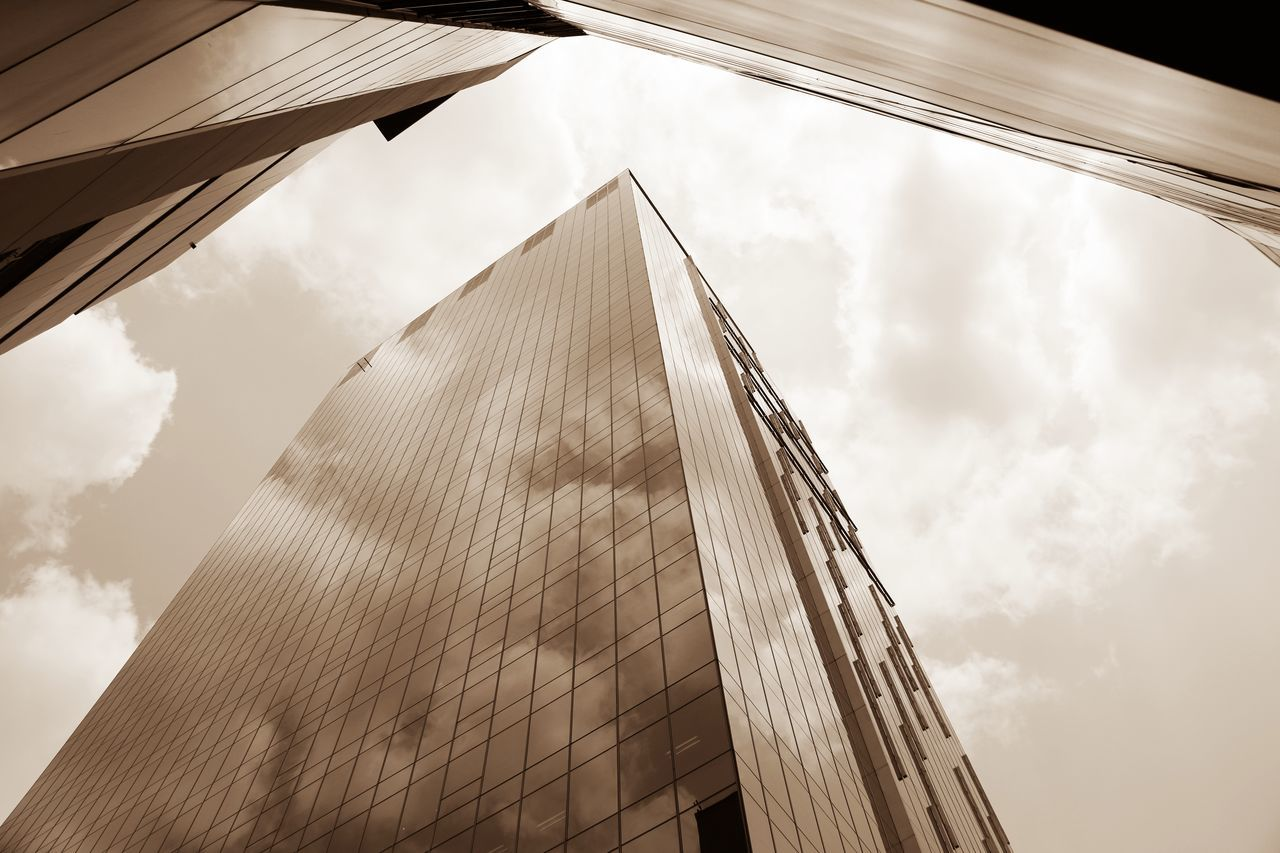 High-rise buildings. Architecture Building Exterior Built Structure Business City City Life Cityscape Cloud Commercial Day Glass High Low Angle View Mirror Modern No People Office Outdoors Reflection Sky Skyscraper Sunny Tower Urban Windows