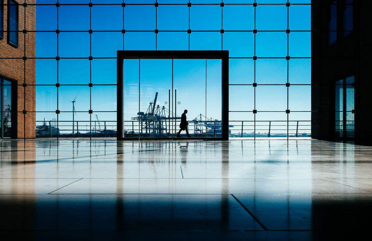 way home Adult Adults Only Architecture Blue Building Exterior Built Structure Clear Sky Day Full Length Harbour Scene Harbour View Men One Person Outdoors Passenger Boarding Bridge Reflection Sea Sky Unrecognizable Person Water
