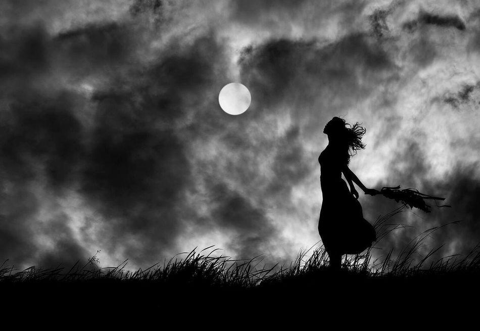 Beautiful stock photos of full moon, Circle, Cloud - Sky, Field, Full Length