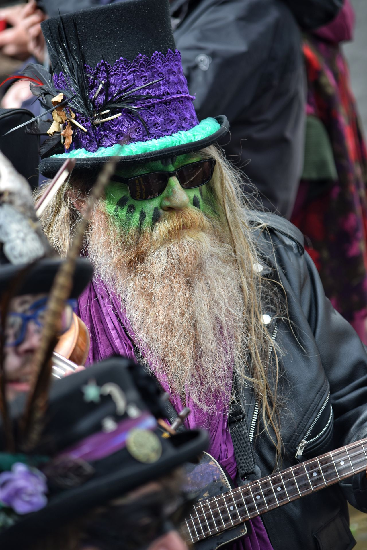 Jack In The Green Festival Jack In The Green Hastings East Sussex May Day 2017 May Day Arts Culture And Entertainment Bearded Man Traditional Clothing People Music Real People Musician Performance Outdoors One Person Adults Only Celebration Portrait Parade Togetherness Headwear Feather  Live For The Story The Portraitist - 2017 EyeEm Awards