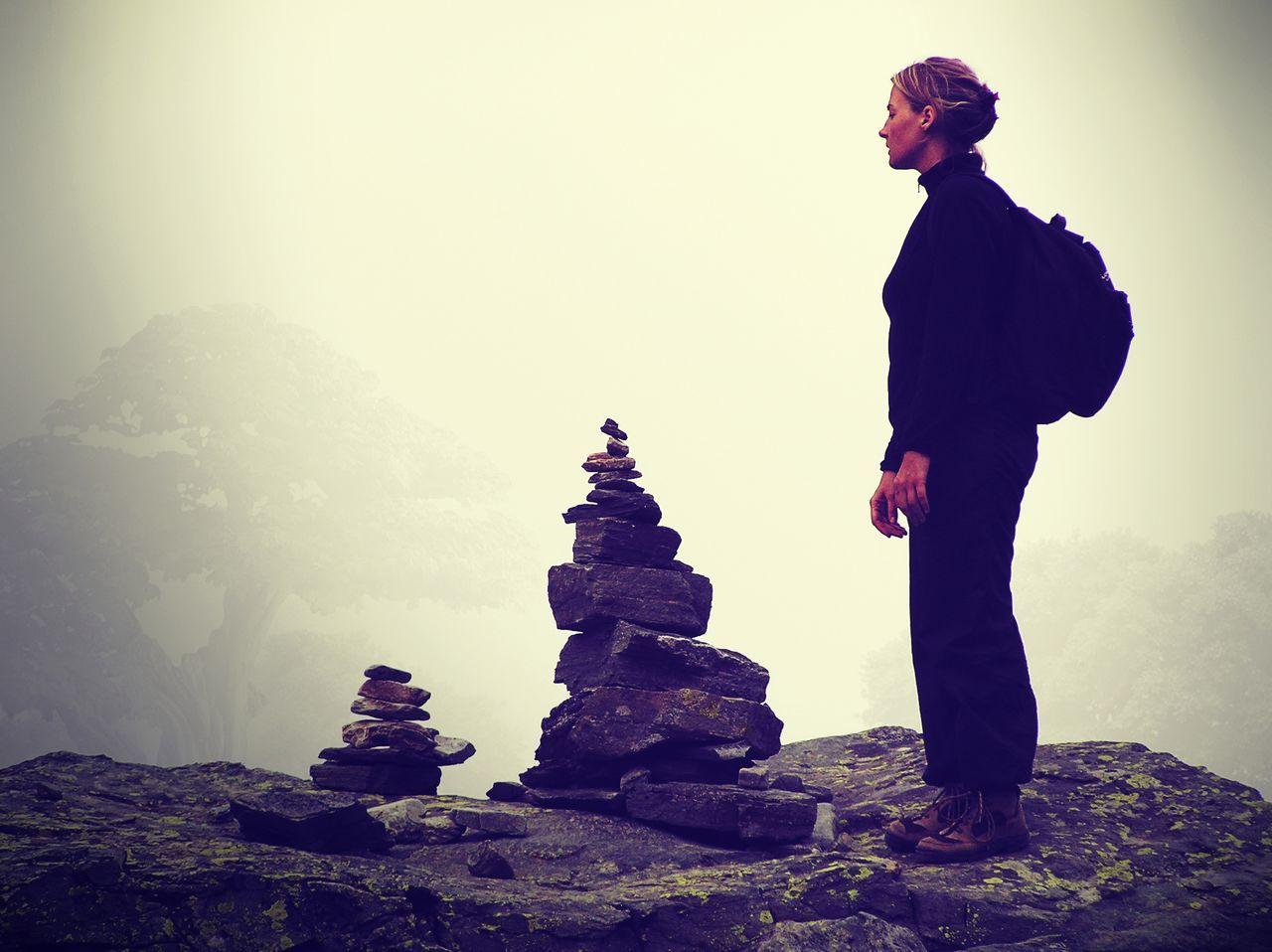 Full Length Girl Inukshuk Landscape Mountain One Person Outdoors Quiet Moments Rock - Object Scenics Sentry Serenity Standing Trekking Zen Zen-like