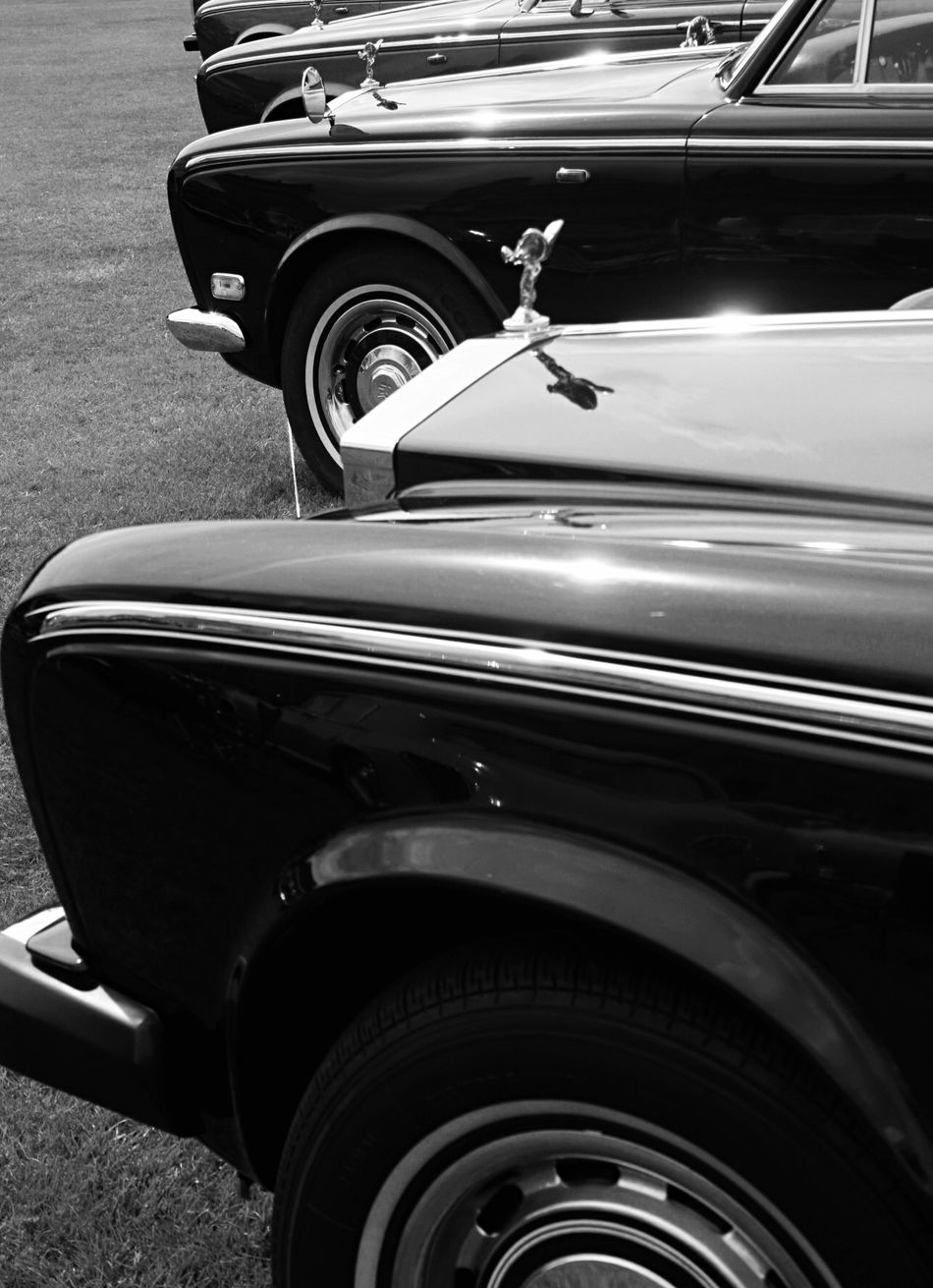 Blackandwhite Rolls-Royce Silver Shadow at Harewood House Leeds, UK