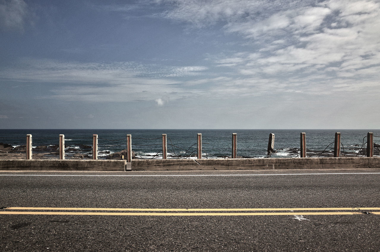 sea, water, outdoors, no people, road, day, sky, nature, beach, beauty in nature