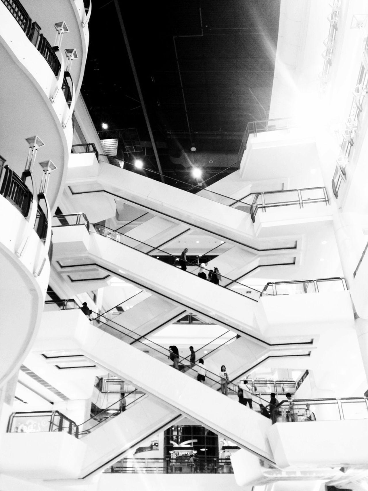 Escalator Blackandwhite Urban Geometry Deceptively Simple