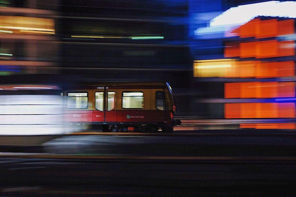 S-Bahn Blurred Motion Speed Motion Transportation Illuminated Night Mode Of Transport Long Exposure Public Transportation City Train Sbahn Berlin Mitte Building Exterior Outdoors No People Nightphotography Fujifilm 23mm