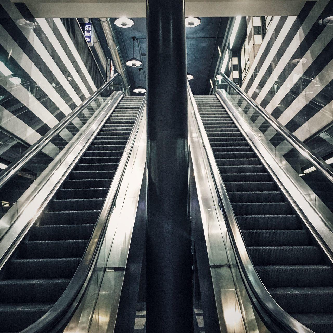 Low Angle View Of Escalators At Subway