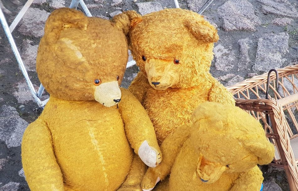 Teddy Bear Stuffed Toy Cover Background Vintage Stuff Old Things Brocante Flea Markets Fleamarket Flea Market Together Forever Together Forever Friends Stuffed Bears Old Toy Bear Toy Stuffed Toy For Sale
