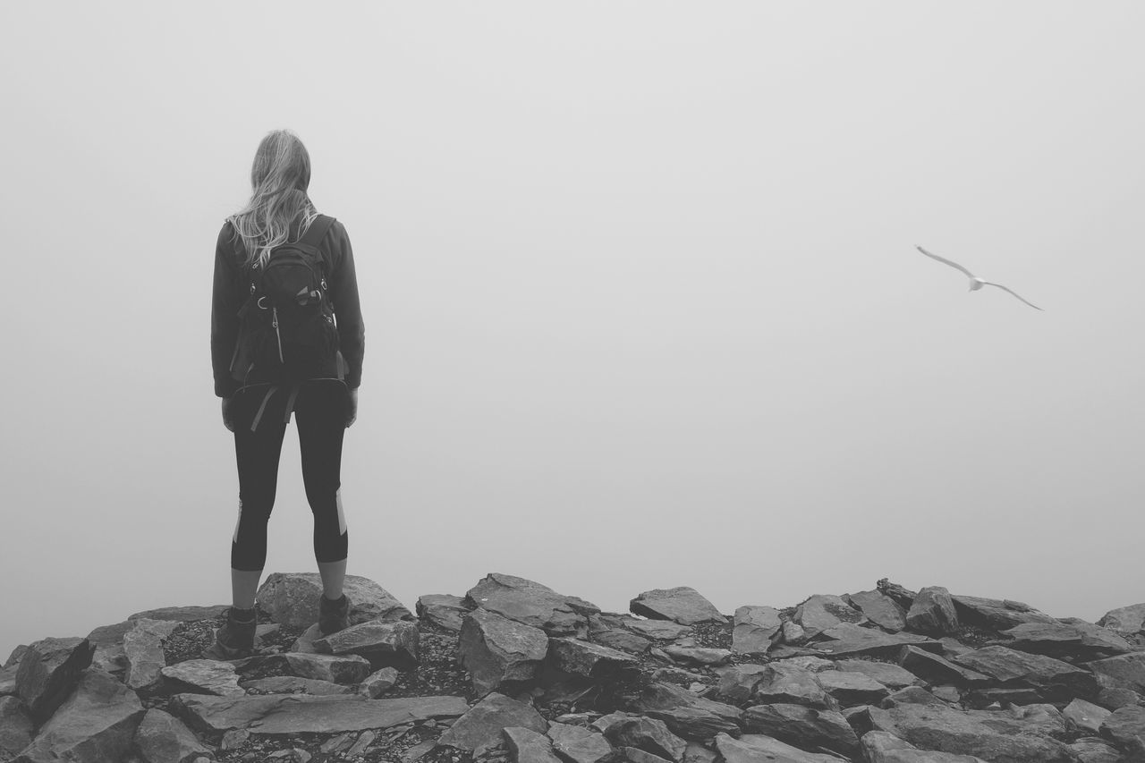 Rear View Full Length Portrait Bird One Person Fog Foggy In The Clouds Day Leisure Activity Nature Standing Outdoors Lifestyles Adventure Landscape Scenics Mountain Beauty In Nature Summit Hiking Woman Welcome To Black in Snowdon , Wales MISSIONS: The Great Outdoors - 2017 EyeEm Awards The Portraitist - 2017 EyeEm Awards