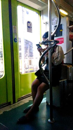 Experiments: metal vs smile In The Train Girl Mobile Love Looking Observing People Photography People Watching People One Person Big Bag Sitting Doors Green Non Recognizable Female Public Transportation Trasportation Transport Train Metal Roma Italy