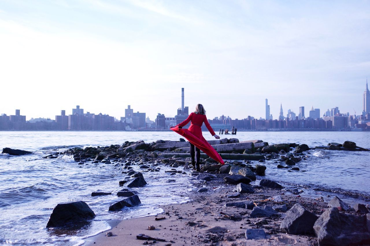 Women Woman Single Individuality Water Walking Red City Cityscape Alone Strength Explore Exploring Adventure