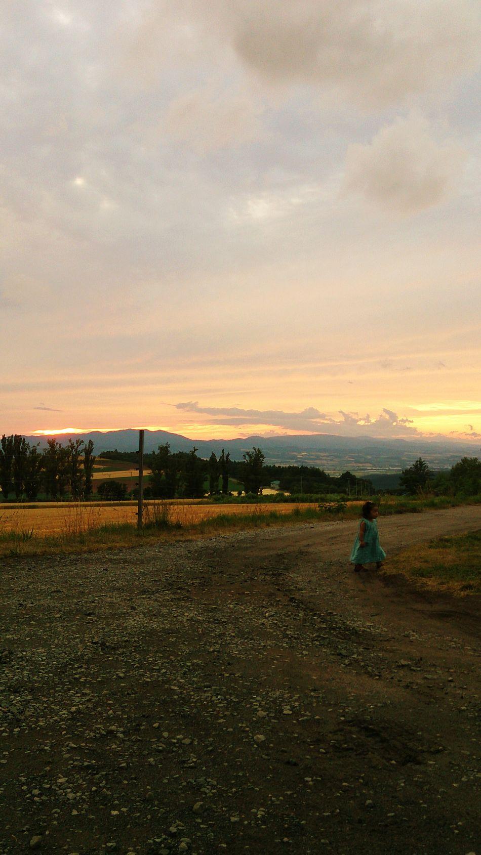 北海道 富良野 Japanese  Hokkaido 夕焼け 女の子 Sunset Girl Field Outdoor Beauty In Nature Golden Hour Magic Hour Miles Away