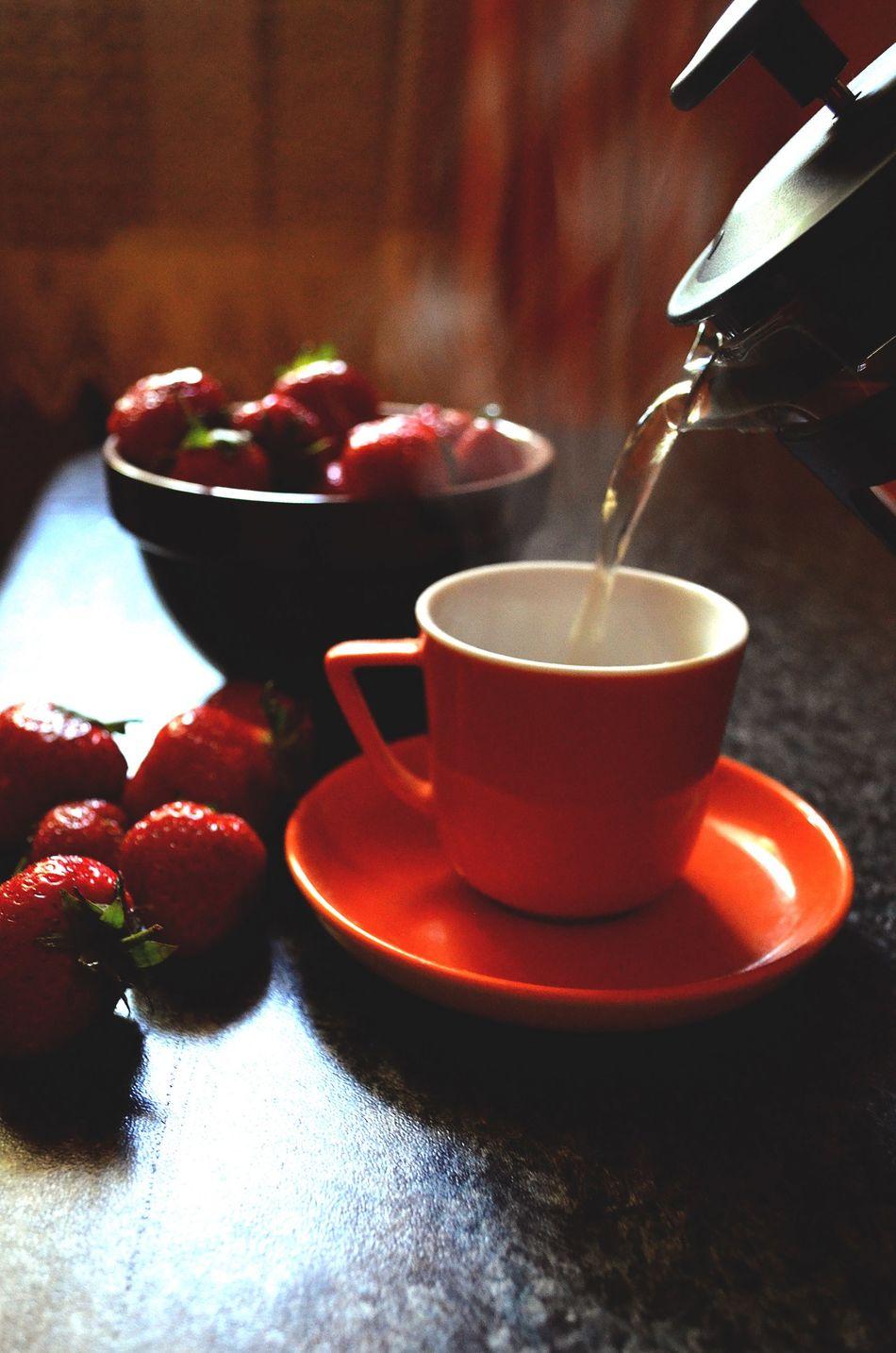 Morning Food ElenaZ Summer Photography Fruit Strawberry Photo Read Tea Love Sweet Food Day Hot