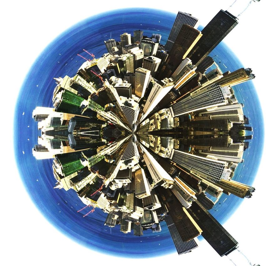 Chicago as a tiny planet Cityscape Skyscraper Architecture Amateur Photography Eyeemphotography Breathing Space EyeEmNewHere EyeEm Best Shots EyeEm Gallery EyeEm Vision EyeEm Selects Tiny Planet Tiny Planet Fx Fun With Filters Chicago Second City Skyline City View  City From Above Panorama 360° Pictures  No People Sky Planet Earth Day Investing In Quality Of Life The Week On EyeEm