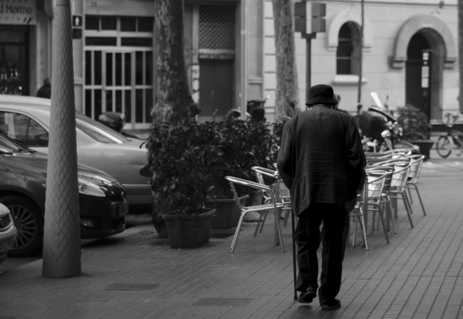Leisurely stroll in L'Eixample Adult Adults Only Architecture Day Full Length Men Old Man One Man Only One Person Only Men Outdoors People Real People Rear View Walking Cane