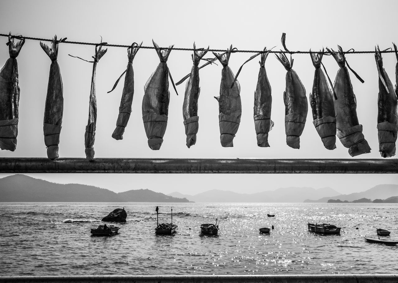 Sunbathing B&w Photography Black And White Boats Fishes Hanging No People Outdoors Sea Seascape Sundried Water