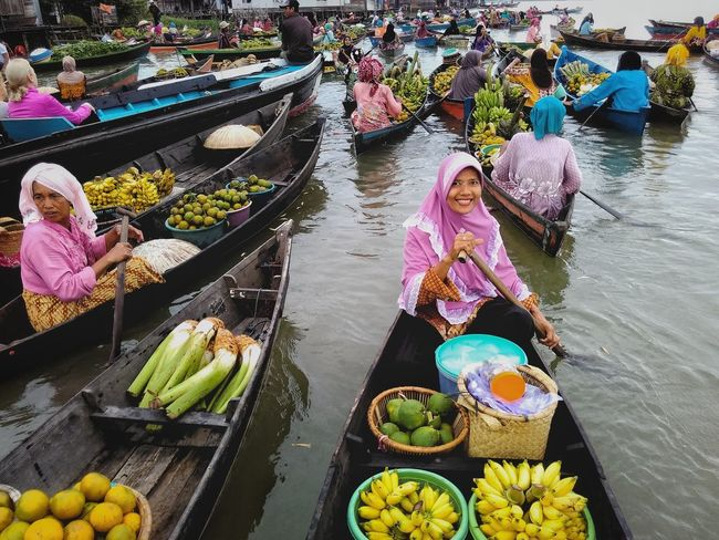 morning in floating market lok baintan People And Places Day Outdoors Sunlight First Eyeem Photo Market Human Interest in Banjarmasin, INDONESIA
