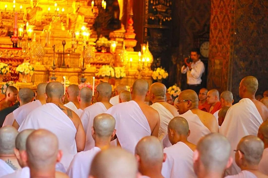 Religion Ceremony Spirituality In A Row Men Large Group Of People Place Of Worship Adult Budhism Budhist Temple Ordain Yellow