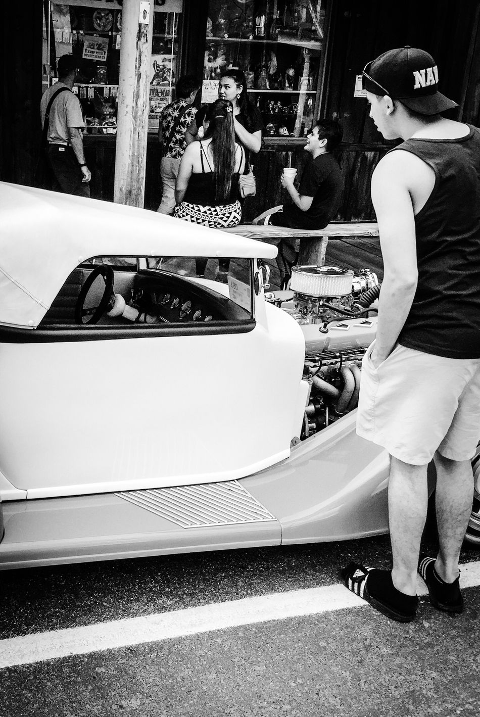 Vacation People Together People Talking Having A Good Time Conversation Man Looking At A Car Collection Car White Car Black And White Black And White Photography People And Places Monochrome Photography The Drive