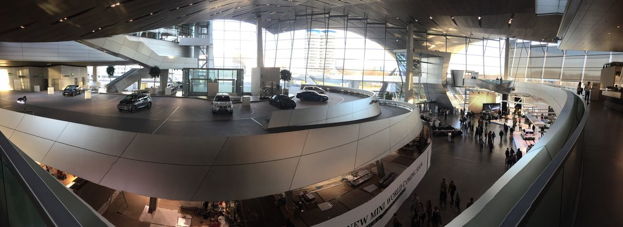 EyeEm Selects Indoors  Large Group Of People Architecture Fish-eye Lens Real People Panoramic Factory Day People Bmw BMW Welt  Bmw Museum Sport Cars Car Vehicle EyeEmNewHere