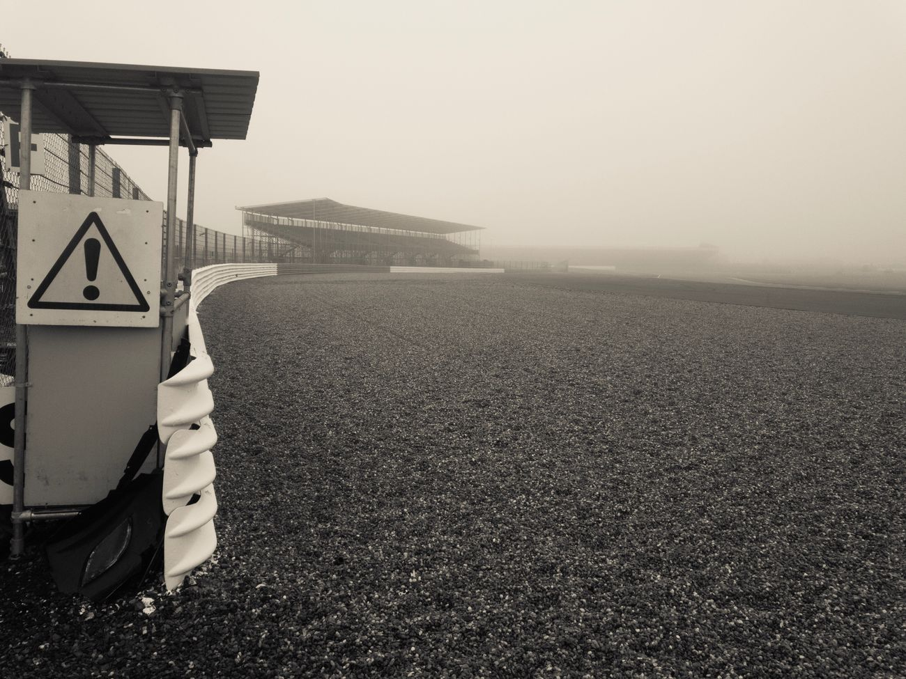 Foggy morning on the race track Outdoors Fog Racetrack Mist Silverstonecircuit Marshal Post