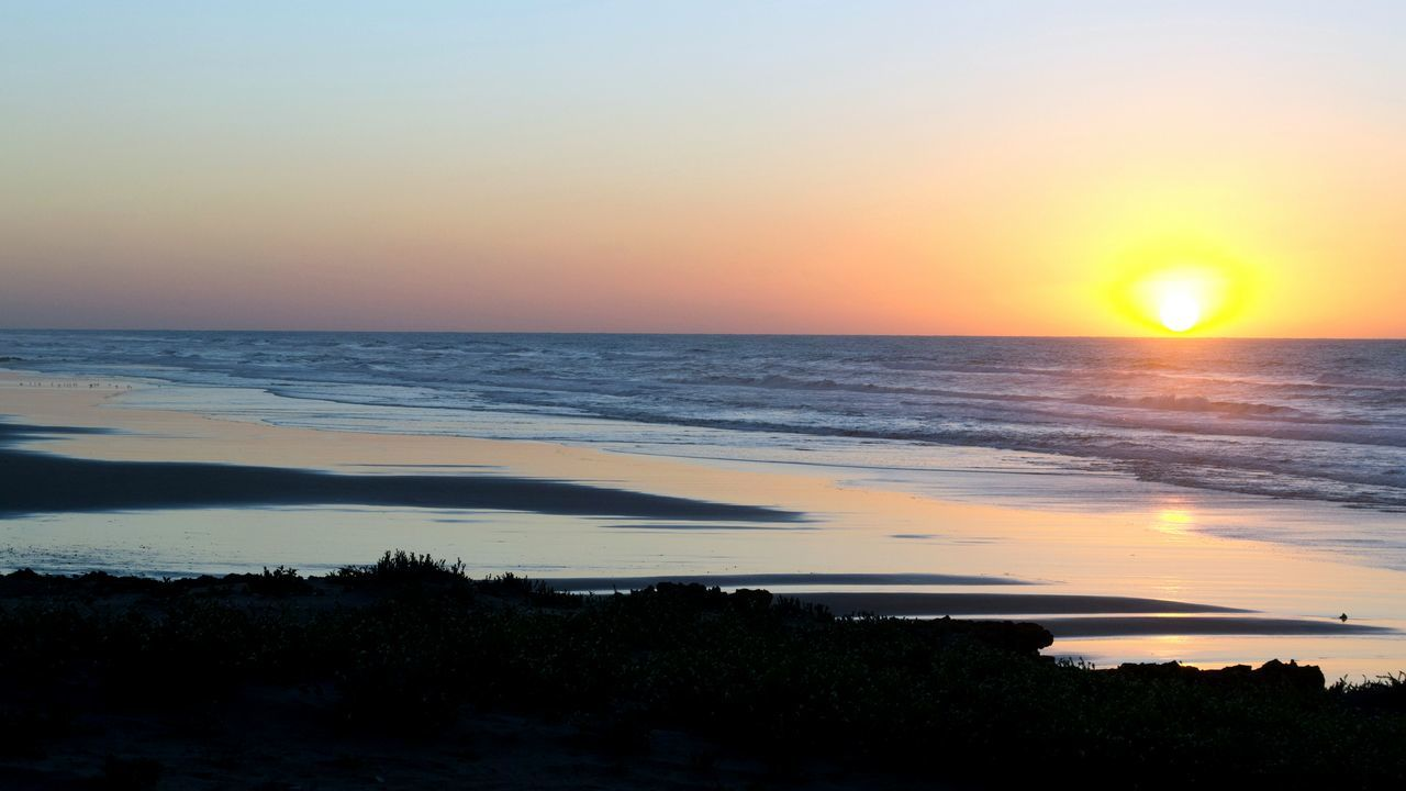 Sunset Beach Sea Nature Sun Water Tranquility Horizon Over Water Beauty In Nature Reflection Dramatic Sky Scenics Sky Landscape Tranquil Scene Outdoors Orange Color Travel Destinations Sunlight Cloud - Sky Morocco 🇲🇦 Aglou Souss-masa-draa Tiznit