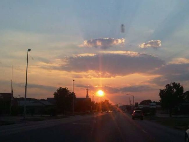 Hppe Sunset Road Through The Windshield Small Town, USA Orange Color Cloud - Sky Sunbeam On The Move